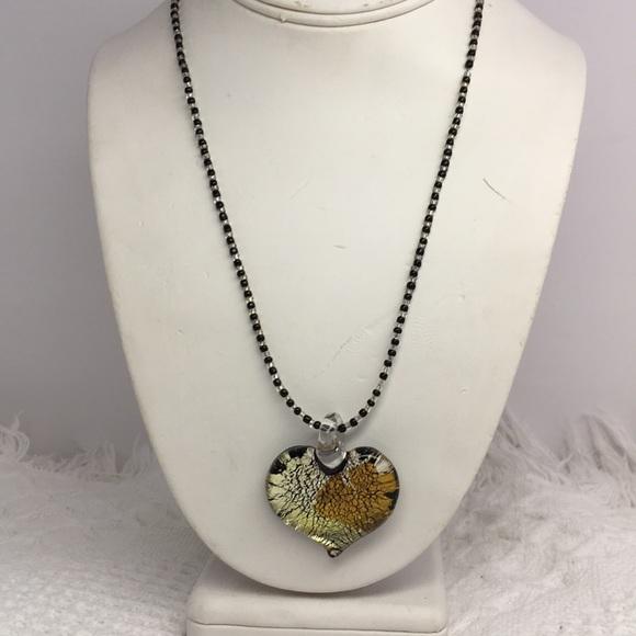 aa53b13a39c Murano Jewelry   Venetian Glass Black Heart Necklace   Poshmark